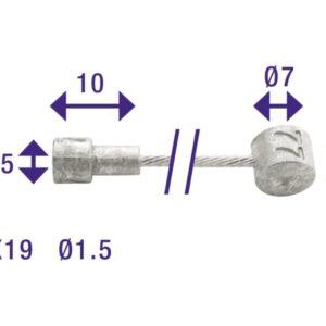 Cordo binnenkabel rem 235cm/ø1,5mm rvs + 2 nippels