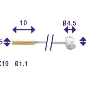 Kabel binnen versteller cordo 225cm/ø1,1mm verzink